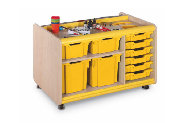Art Supplies Trolley With Yellow Pots
